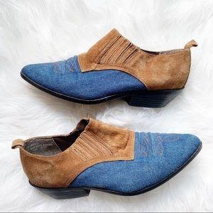 Coasters Suede & Denim Western Ankle Bootie Boot